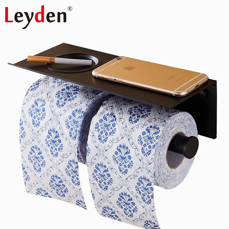 Leyden Double Toilet Paper Holder Black Wall Mounted Toilet Paper Holder with Mobile Phone Shelf Ashtray Bathroom Accessories leyden copper 4 color toilet roll holder toilet paper holder with shelf wall mounted toilet paper rack bathroom accessories