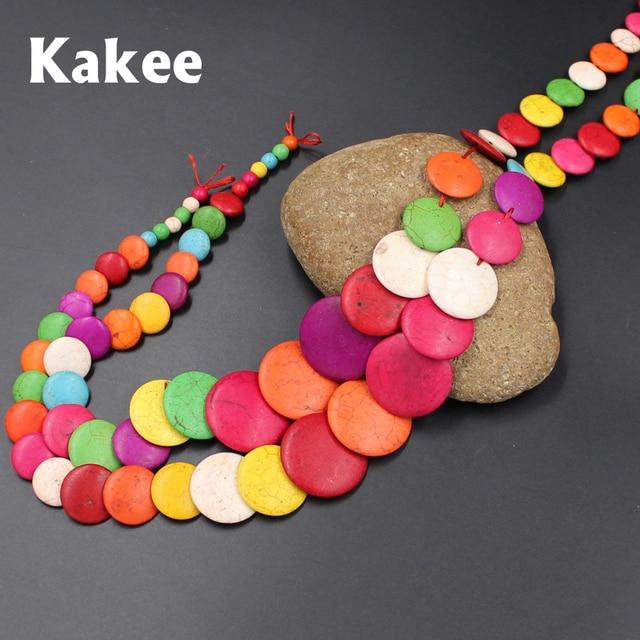 c7e80bc4ef3a Kakee DIY materiales para hacer la moda Pendientes pulseras Collares  redondo Cuentas natural turquesas suministros para