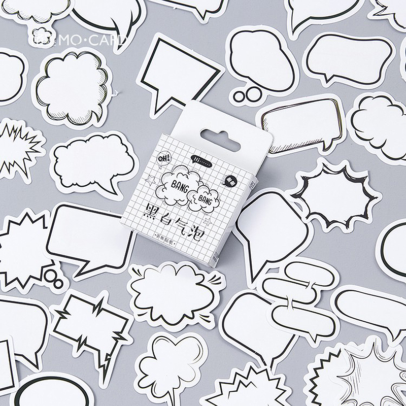 45PCS/box Creative mini Dialog sticker scrapbooking DIY paper pack seal label diary bullet journal stationery travel Cute 1T806 45pcs box cute animal crystal ball mini paper decoration stickers diy diary scrapbooking seal sticker stationery school supplies