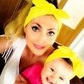 baby turban printing parent-child model bow tie elastic hair band adult children rabbit ears printing headband