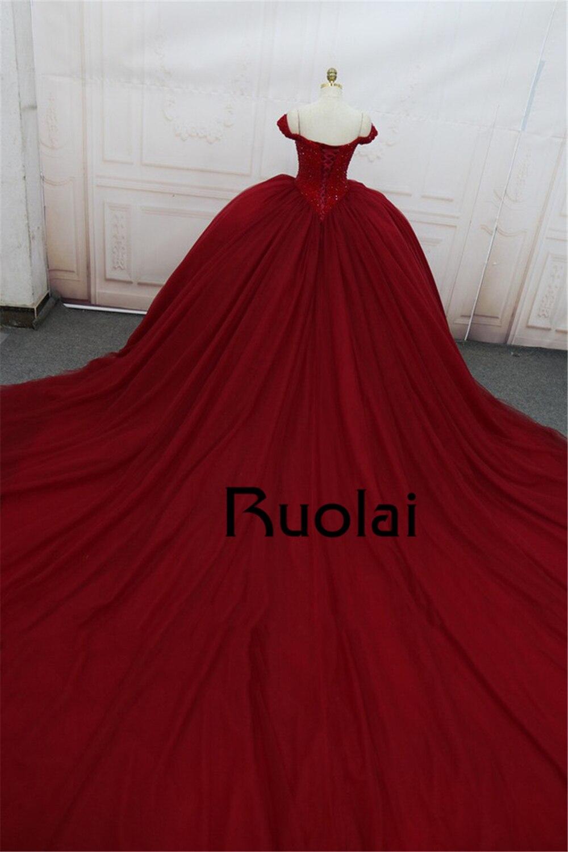 Gorgeous Burgundy Evening Dress Long 2018 V Neck Beaded Princess ...