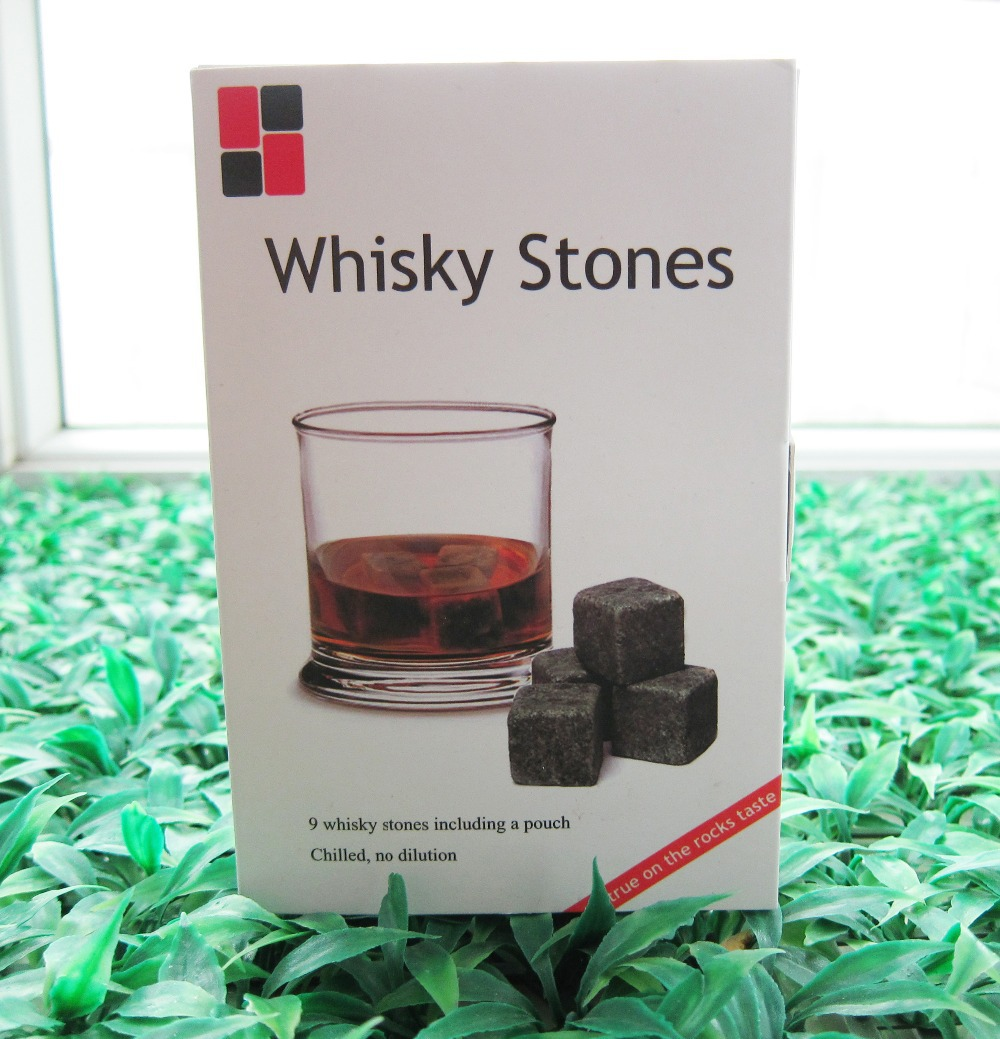100% Natural Whisky Stones in Gift Box 100sets/lot Whiskey Stone Whisky Rock Sip Valentine Father's Day Gift Wholesale