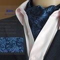 Moda Paisley Floral Homens Longa Senhores Gravata Ascot Laços Formais Gravata Festa de Casamento Laços Cinza Lenços Azuis
