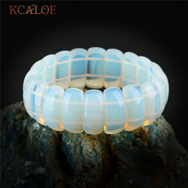 KCALOE прозрачный лунный камень браслет для женщин Мода Широкий натуральный камень Браслеты Мода ювелирные изделия Pulsera