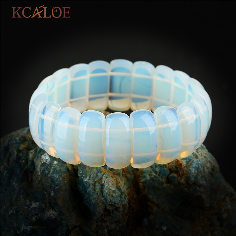 KCALOE Transparent Moonstone Charm Bracelet For Women Fashion Wide Natural Stone Bracelets & Bangles Trendy Jewelry Pulsera trendy letter heart round rhinestone bracelet for women