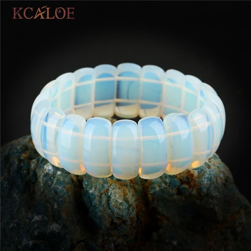 KCALOE Transparent Moonstone Charm Bracelet For Women Fashion Wide Natural Stone Bracelets & Bangles Trendy Jewelry Pulsera