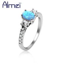 Almei 40%Off Wedding Pure Sterling Rings For Women Blue Fire Zirconia And Opal Ring Silver 925 Jewelry Bijoux With Box JZ104