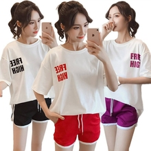 women Jumpsuits Summer loose student letter casual sportswear suit female summer 2019 new two-piece
