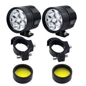 Image 5 - Feu antibrouillard pour moto phare LED, blanc et jaune, 2x6000 lm, phare de route, étanche, accessoires pour moteur, 3000K/K, 12V