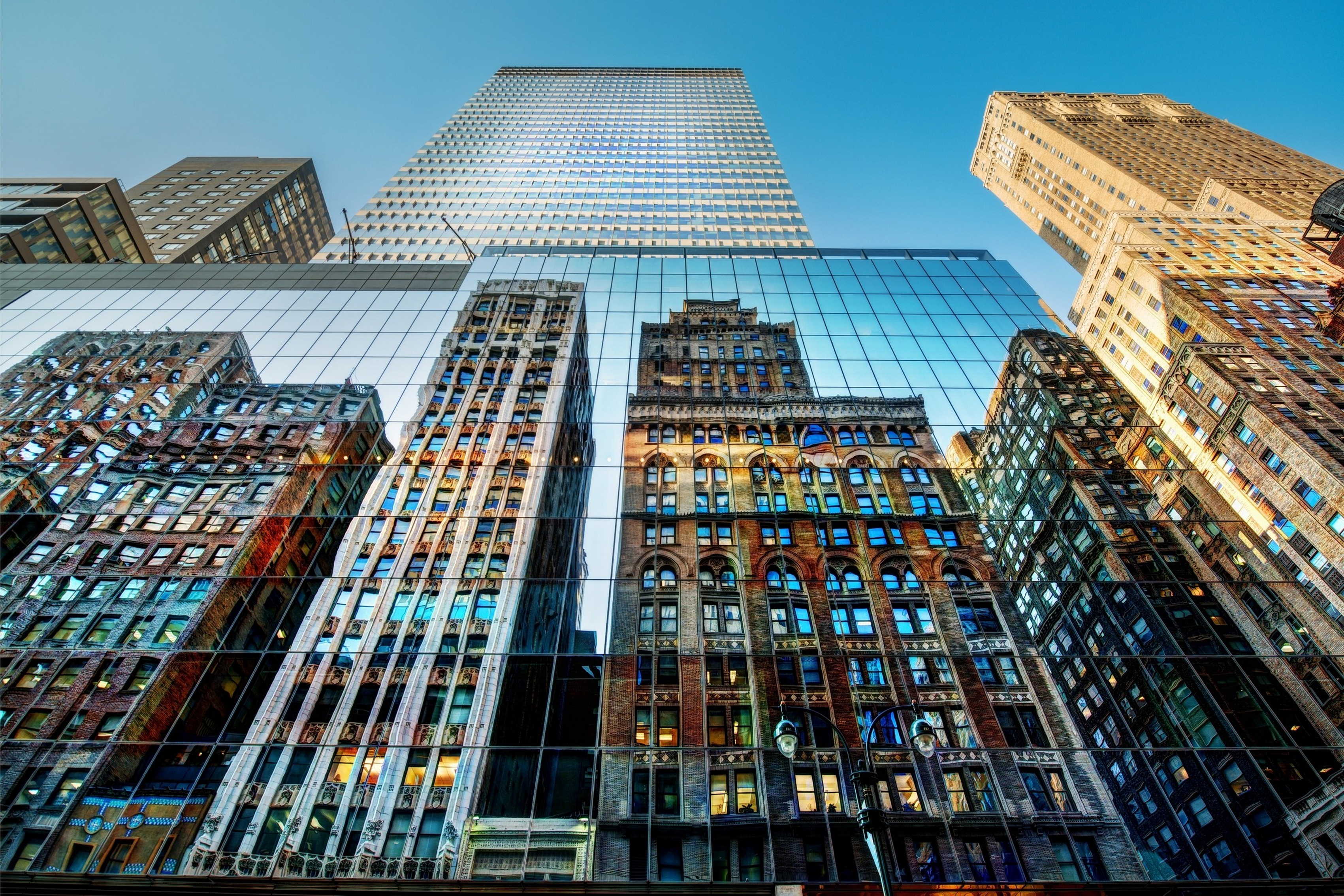 Home decoration skyscrapers HDR photography reflections low angle shot Trey Ratcliff blue skies Silk Fabric Poster Print 092FJ