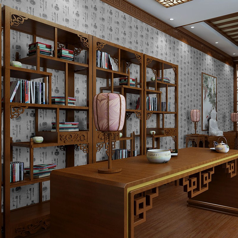 Chinese Calligraphy Ceramic Tea Shop Music Store Living Room Wallpaper Background Library Furniture Restaurant