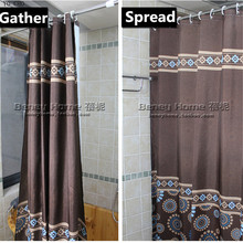 [150cm ] Modern coffee color polyester waterproof bathroom fabric shower curtain Europe bath curtain Bathroom products