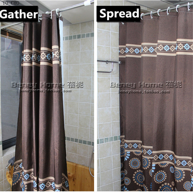 150cm Modern Coffee Color Polyester Waterproof Bathroom Fabric Shower Curtain Europe Bath Products