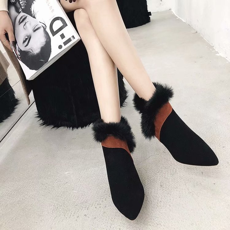 faux fur decoration ankle boots women gold high heeled plush winter booties mixed color suede leather peluche botas mujer s456 42