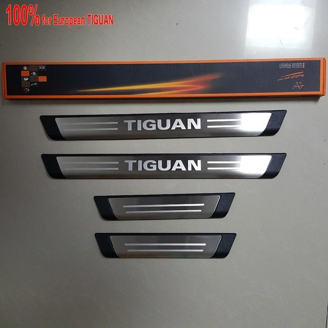 O envio gratuito de new para eur vw volkswagen tiguan soleiras de porta de aço inoxidável placa do scuff limiares acessórios etiqueta 4 pcs