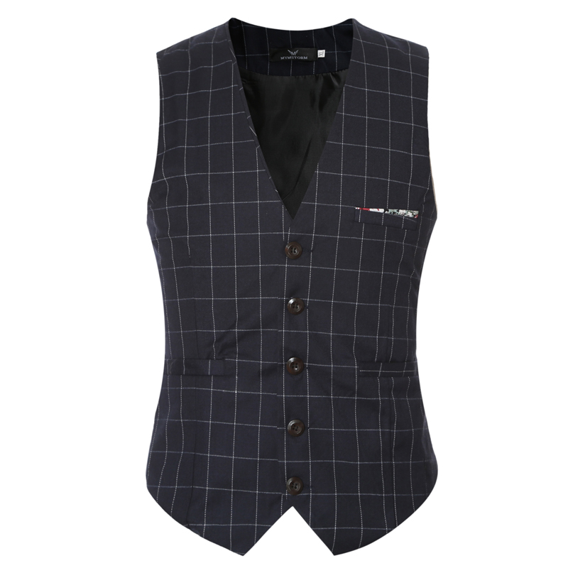 OnnPnnQ Men Suit Vests Autumn 2017 New Arrival mens slim fit Plaid woolen dress suit ves ...
