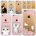 Для Apple iPhone 6 6 S 5 5S SE 6 Плюс 6 sPlus 5C 4 4S Мягкий Силиконовый Прозрачный Телефон Case Cover Cute Cat Кролик Emojio Телефон капа