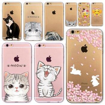 For Apple iPhone 7 6 6S 5 5S SE 7Plus 6sPlus 5C 4S Soft Silicon Transparent Phone Case Cover Cute Cat Rabbit Emojio Phone Capa