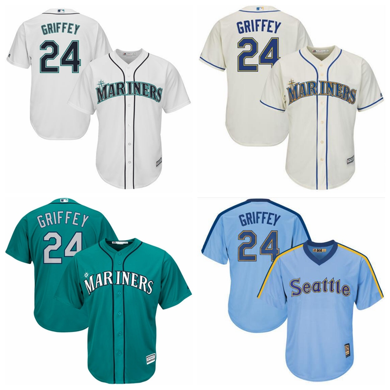 Men's Seattle Mariners Ken Griffey Jr. Baseball Alternate Cream Official Cool Base Replica Player Jersey