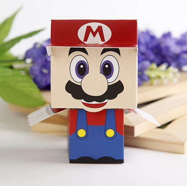 12Pcs/lot Cheerful Super Mario Favor Boxes Paper Chocolate Boxes Party Gifts Packaging Box