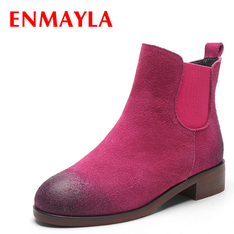 ENMAYLA Ankle Boots for Women Low Heels Autumn and Winter Boots Shoes Woman Large Size 34-43 Round Toe Motorcycle Boots enmayla ankle boots for women low heels autumn and winter boots shoes woman large size 34 43 round toe motorcycle boots