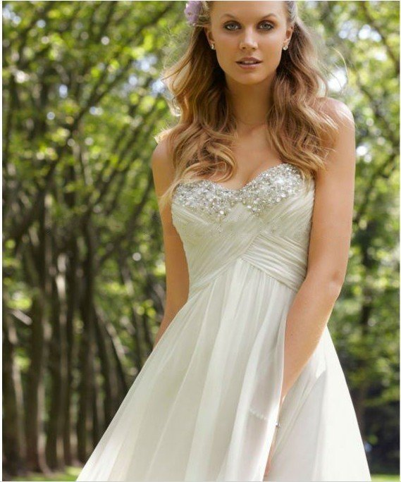 2012 new arrival Exquisite beautiful A line Sweetheart beaded simple ...