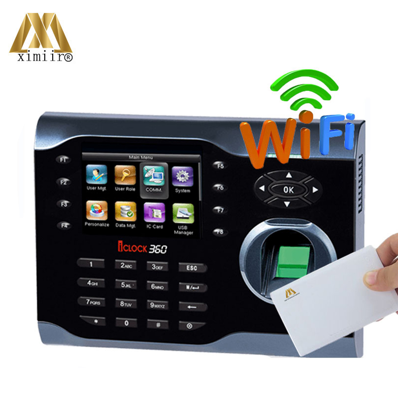 High-Speed ZK Fingerprint Time Attendance Terminal Iclock360 With MF IC Card WIFI Function Fingerprint Time Clock System