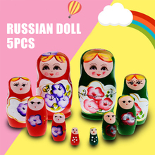 Russian Nesting Doll 5pcs  Wood Novelty Wooden Matryoshka Doll Set Hand Painted Decor Russian Nesting Dolls Baby Toy wholesale