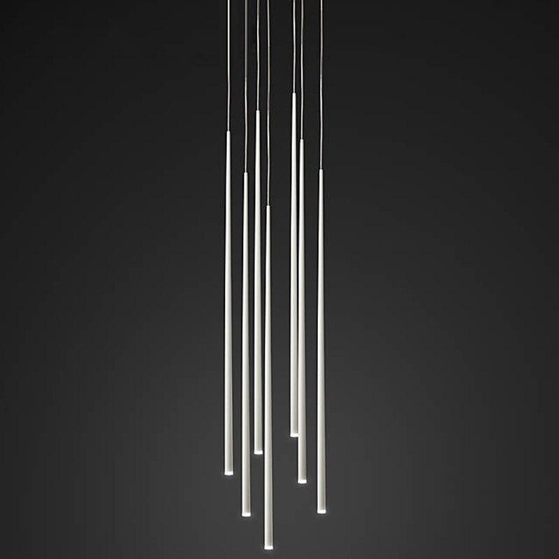 Long bar shape single head pendant light lampen modern luminaire suspendu white/black housing hanging lights led for home decor