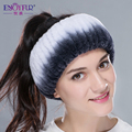 New winter women fur headbands knitted rex rabbit fur neckwear for women real fur headwrap ear warmer 2015  fashion hairband