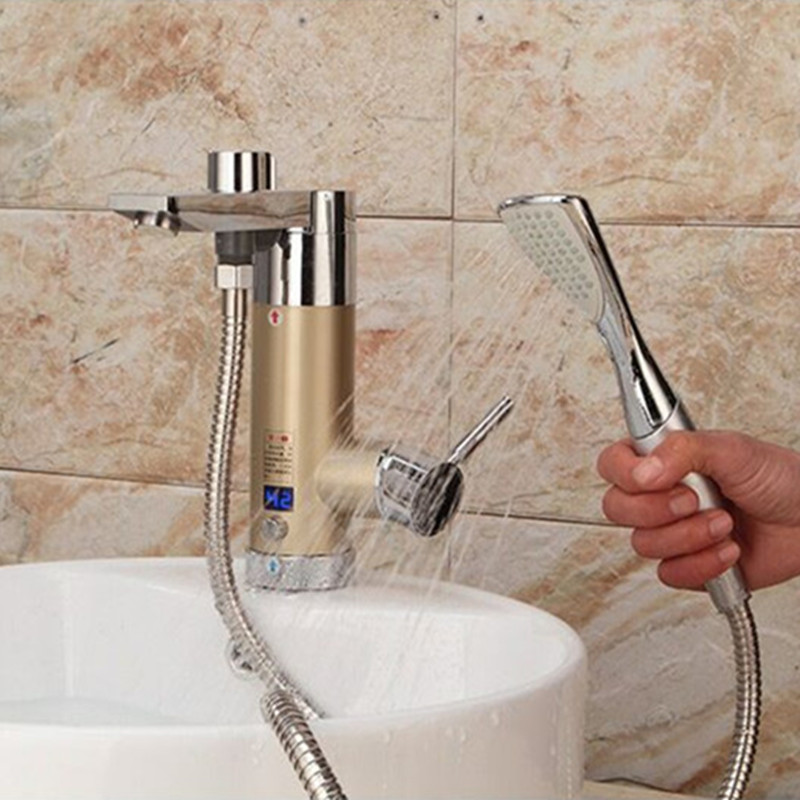 US $55.46 6% OFF|3.5kW wasser heizung Momentanen heißer tankless  elektrischer wasserkocher für badezimmer dusche küche waschbecken seite  unteren ...
