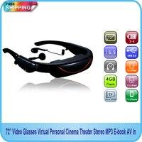 Free Shipping 72 Video GlassesVirtual Personal Cinema Theater Stereo MP3 E Book AV In