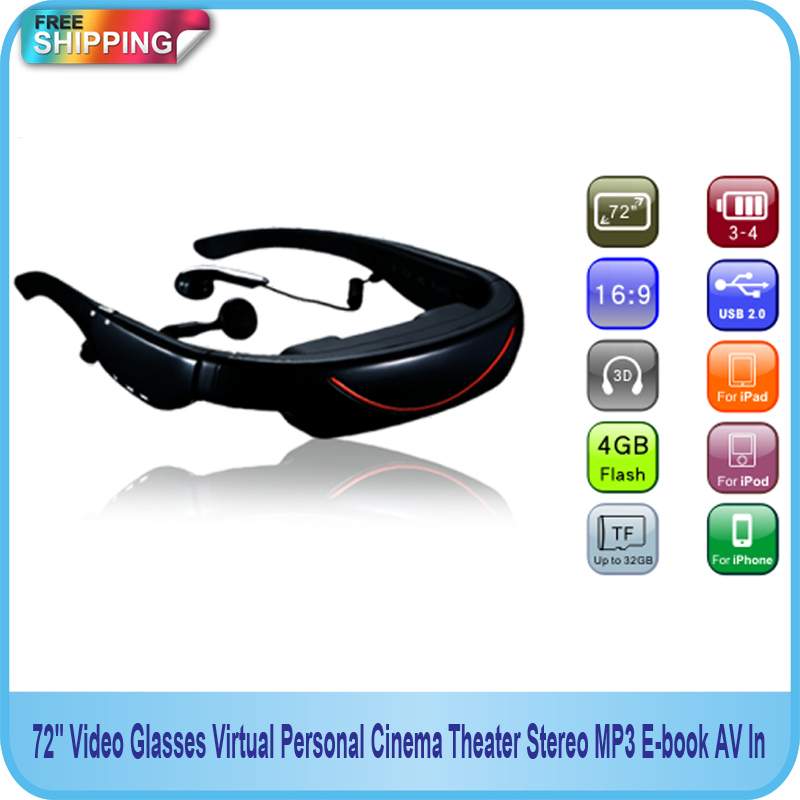 цена на Free shipping!! 72 Video Glasses Virtual Personal Cinema Theater Stereo MP3 E-book AV In