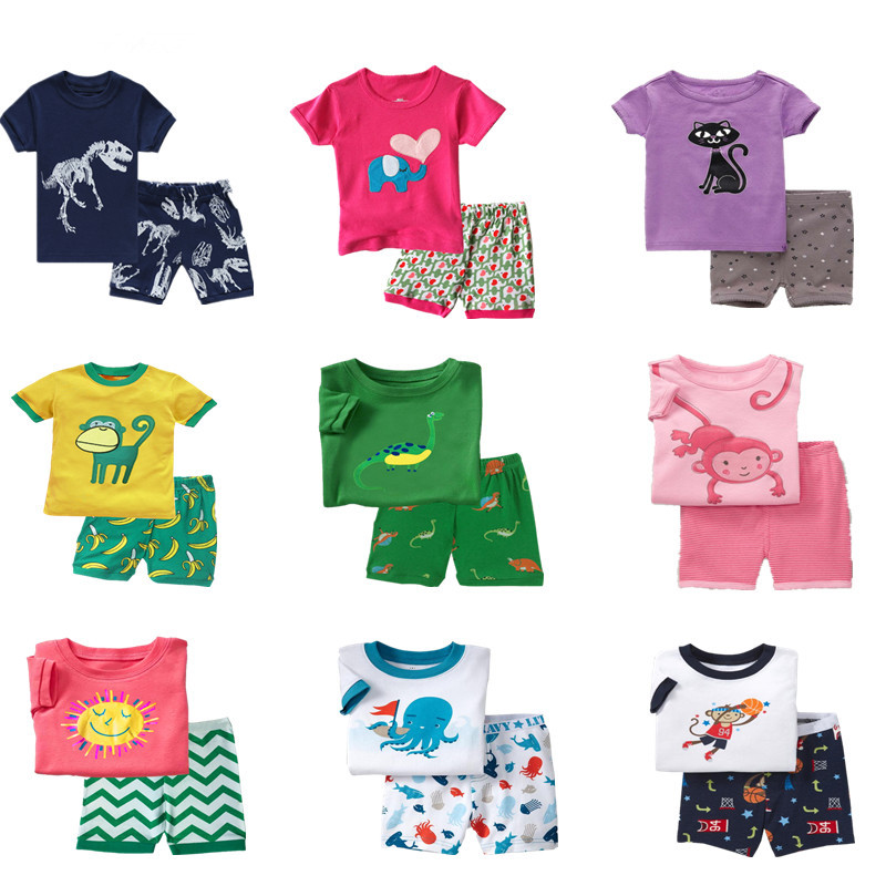 цена на Baby kids Pajamas Set summer children Short Sleeve cotton sleepwear Boys Cartoon pyjamas girls cute home clothing boys nightwear