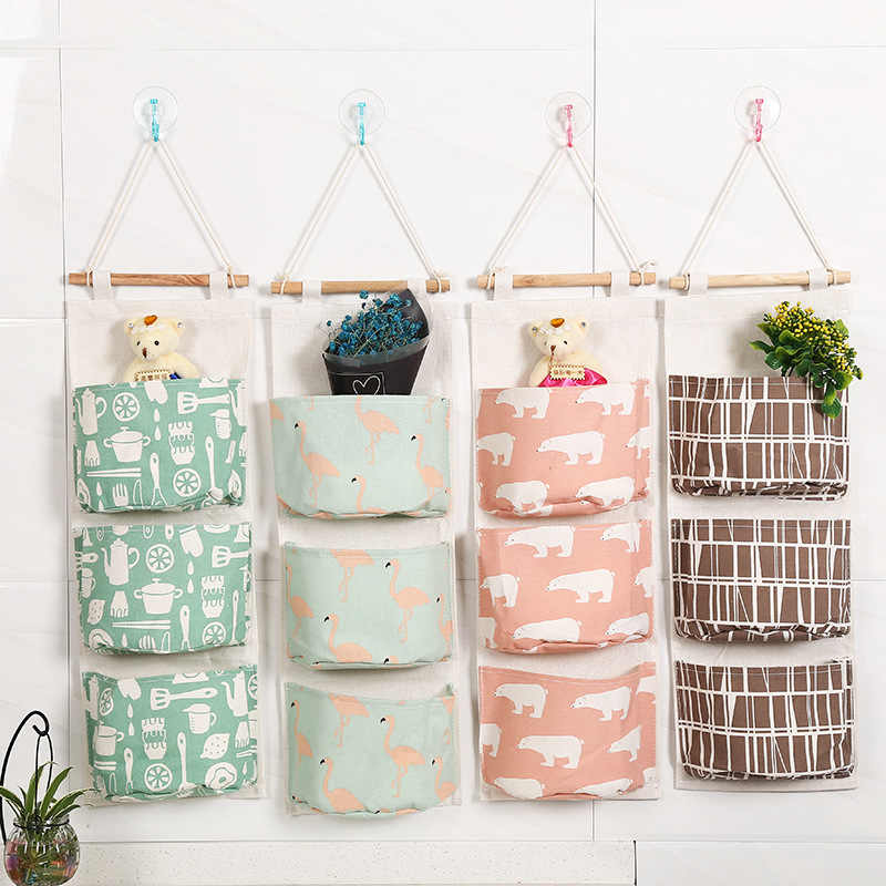 Cute Flamingo Wall Sundry Cotton Line Hanging Organizer Bag Multi-layer Holder Makeup Jewelry Storage Box Basket Home Decoration