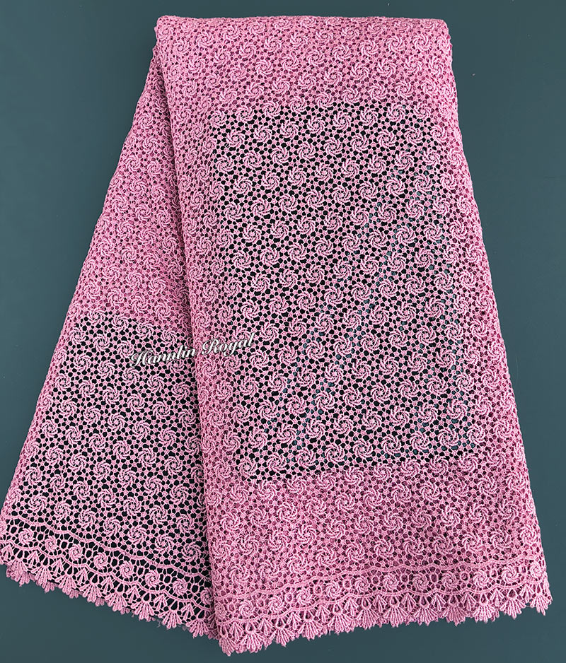 plain pink All Over small eyelet emboidery African Guipure Lace Nigerian cord lace fabric 5 yards