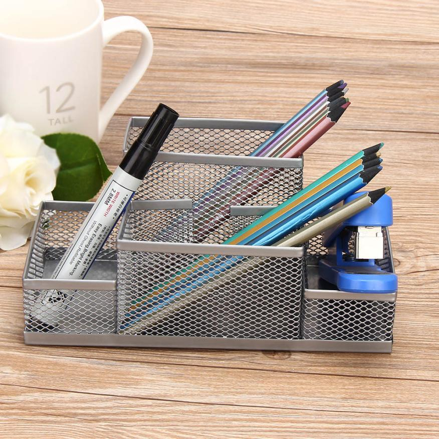 Simple design 4 color Metal Mesh Home Office Pen Pencils Holder Desk Stationery Storage Organizer Box for holding small items