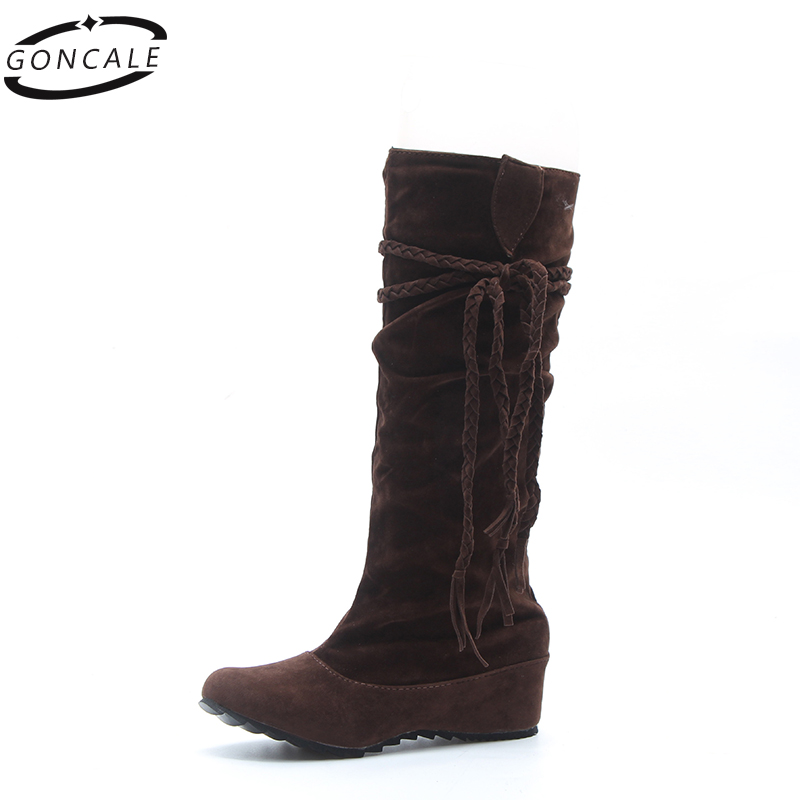 2017 Fashion Spring/Autumn casual Women mid-calf boots Shoes platform ladies boots Black Riding Knee High Boots stylish women s mid calf boots with solid color and fringe design