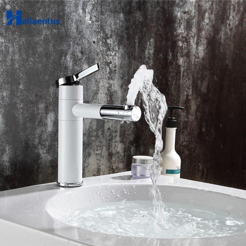Countertop Elegan White Painting Brass Made Bathroom Basin Faucet Vessel Sinks Mixer Vanity Tap Swivel Spout