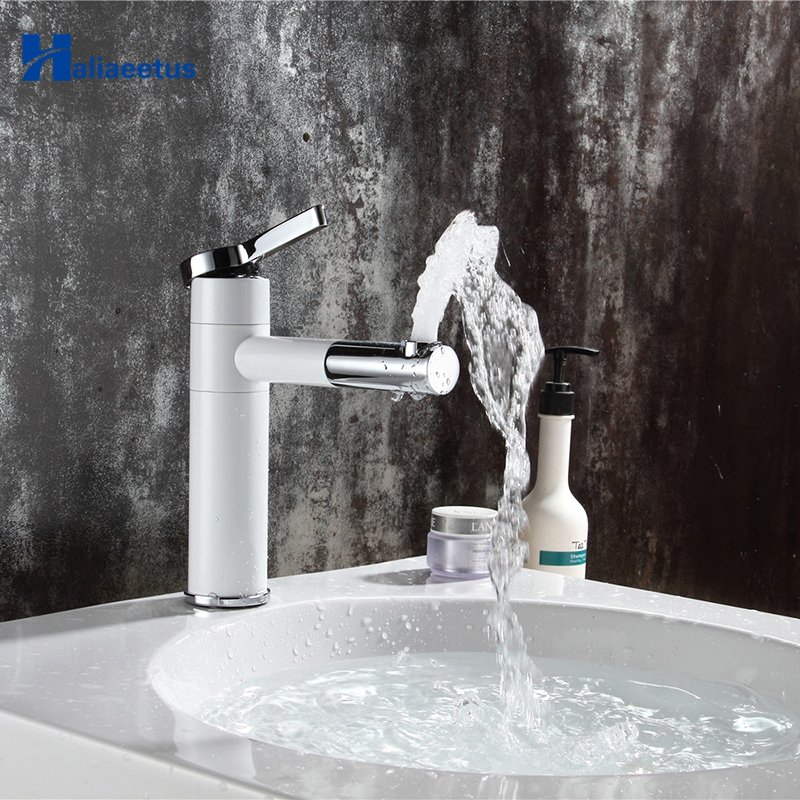 Countertop Elegan White Painting Brass Made Bathroom Basin Faucet Vessel Sinks Mixer Vanity Tap Swivel Spout Deck Mounted faucet abstract art ceramic wash basin countertop bathroom sinks