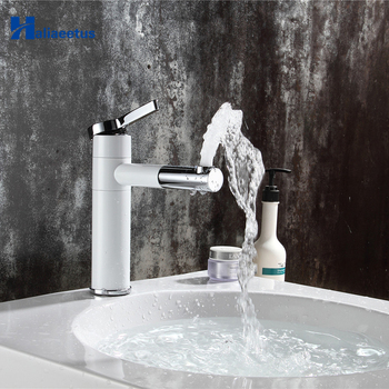 Countertop Elegan White Painting Brass Made Bathroom Basin Faucet Vessel Sinks Mixer Vanity Tap Swivel Spout Deck Mounted faucet