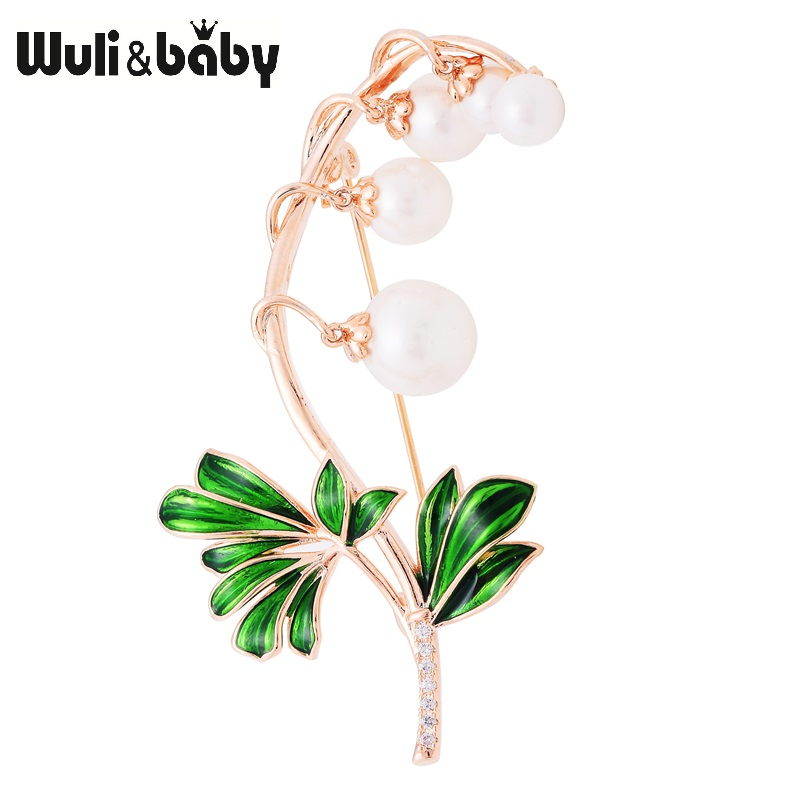 купить Wuli&baby Green Leaves Simulated Pearl Flower Enamel Brooches For Women And Men Party Weddings Banquet Brooch Gifts недорого