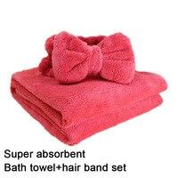 Cute Bow Headband Bath Towel Super Absorbent Shower Caps Women Kids Soft Bath SPA Wrap Towel