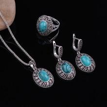 Sellsets Antique Silver Color Jewellery Oval Shape Pendant Necklace Set Black Rh