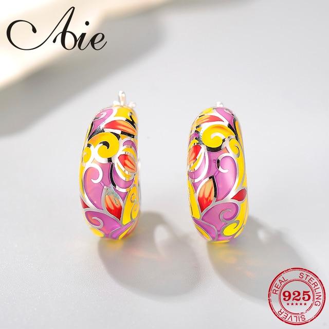 Nuevo 2018 925 Plata de ley como alas de mariposa esmalte rosa amarillo DIY regalo de moda de lujo oreja clip fiesta joyería