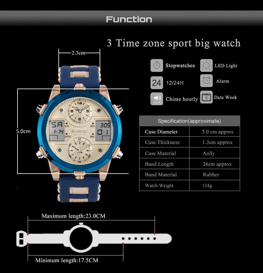 HTB1M4Ddc.GF3KVjSZFvq6z nXXaR BOAMIGO Mens Watches Top Luxury Brand Men Sports Watches Men's Quartz LED Digital 3 Clock man Male Wrist Watch relogio masculino