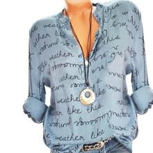 dc78392b2 2018 Fashion Women Plus Size V-Neck Button Long Sleeve Letter Blouse  Pullover Tops Shirt