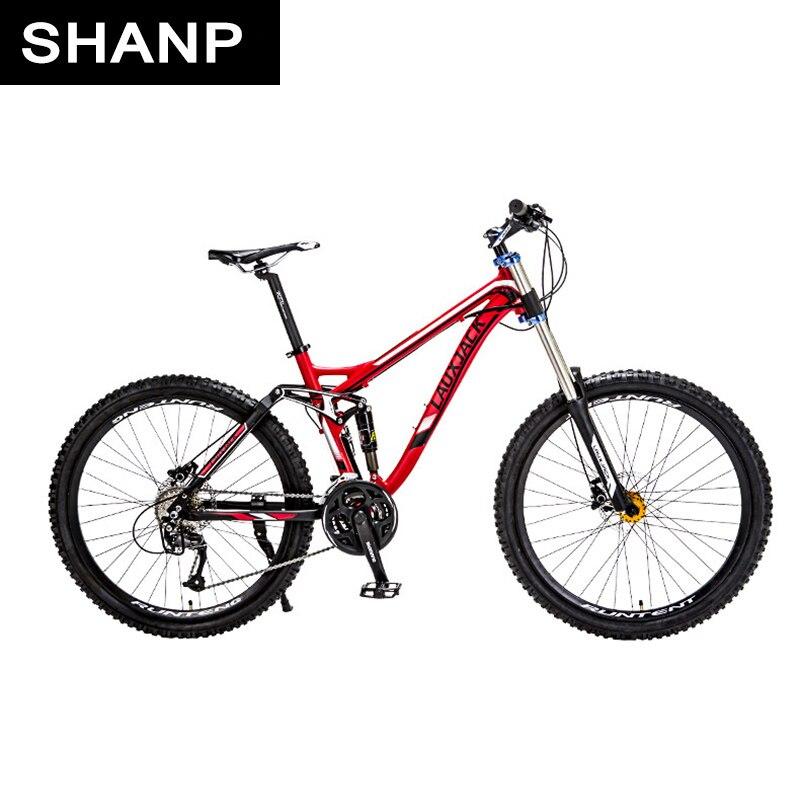 LAUXJACK Mountain Bike Full Suspension Telaio In Alluminio 24/27 Speed Idraulico/Meccanico Freno 26