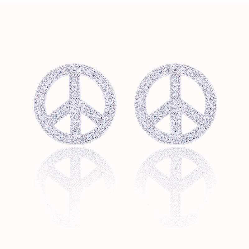 Xiumeiyizu Small Peace Symbol Earrings For Girls Rhodium Plated Pave