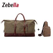 Zebella 2 unids Duffle del Recorrido de la Lona de La Vendimia Bolsa de Los Hombres Bolso de Fin de Semana masculino Bolsas Cruz Cuerpo Pecho Paquete Grande de Viaje Bolsa de Viaje conjunto